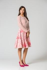 Bluza office cu plii si maneca lunga roz DM128P