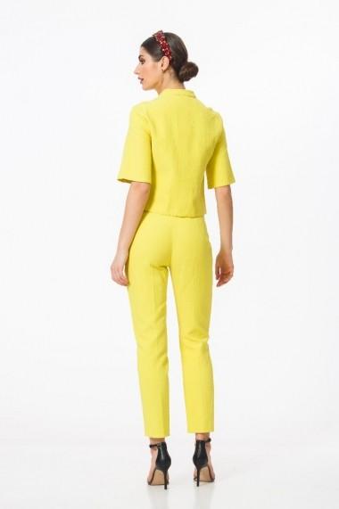 Pantaloni casual galbeni jacquard DM1503