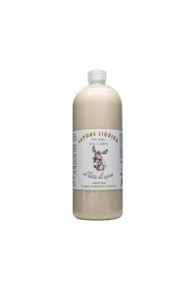 Sapun lichid hidratant pentru maini fata si corp cu lapte de magarita La Dispensa 1000 ml
