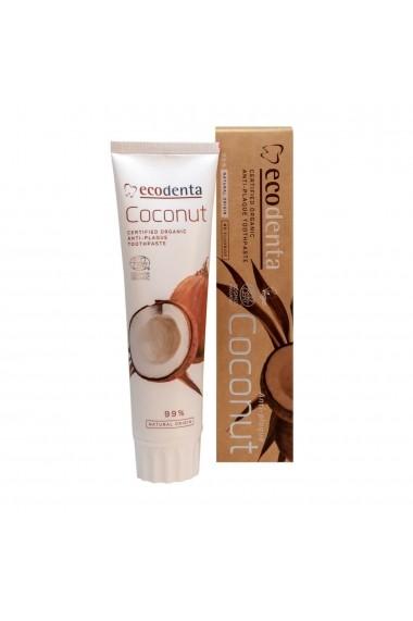 Pasta de dinti antiplaca cu ulei de cocos Cosmos Organic Ecodenta 100ml