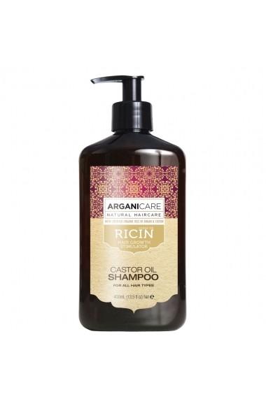 Sampon pentru stimularea cresterii parului cu ulei de ricin pentru toate tipurile de par  Arganicare  400 ml