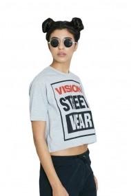 Tricou femei Vision Street Wear Cropped Gri