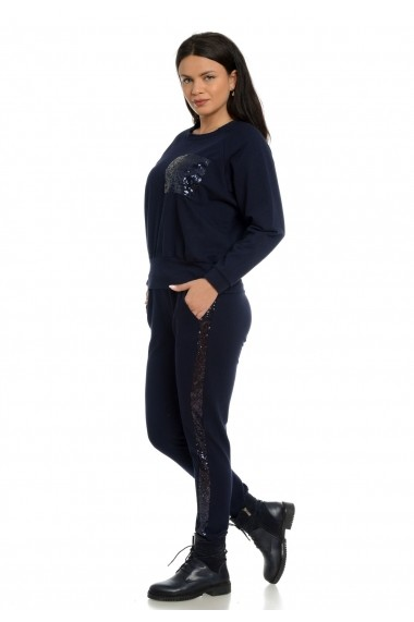 Pantaloni sport Eranthe vipusca paiete bleumarin