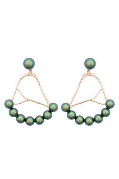 Cercei Eva Gold Green Irid. Scarabeus Pearl