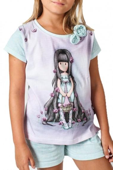 Pijama fete cu tricou Santoro Gorjuss Rosebud scurta bumbac