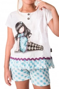 Pijama fete cu tricou Santoro Gorjuss Sitting Pretty scurta bumbac