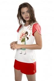 Pijama cu tricou Santoro Kori Kumi Pretty as a Flower scurta bumbac