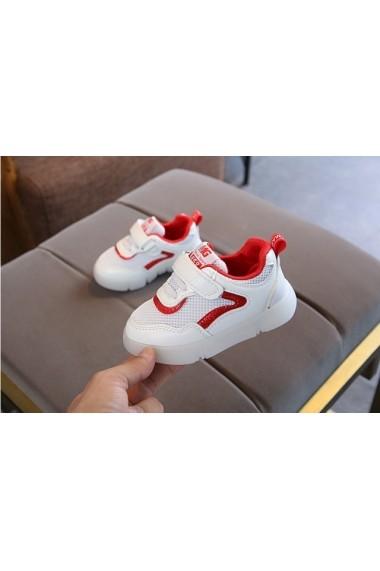 Adidasi albi cu insertie rosie