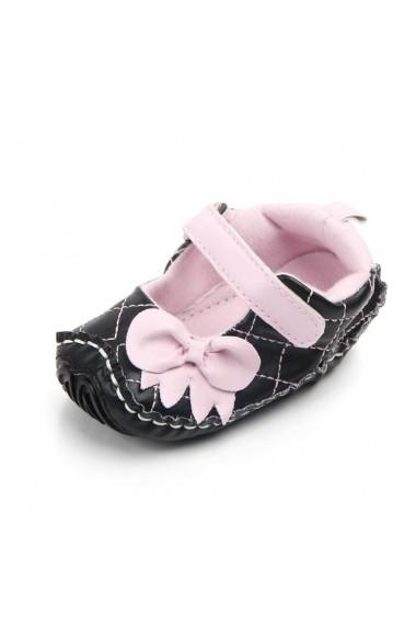 Pantofiori negri cu fundita roz
