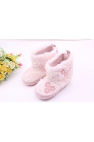 Cizmulite din blanita - Floricele roz