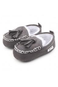 Pantofiori gri imblaniti cu ciucurei