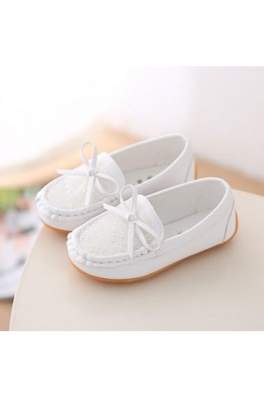 Pantofi tip mocasini albi cu pietricele