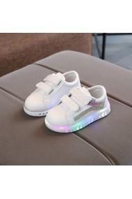Adidasi albi cu dungi lila si cu luminite
