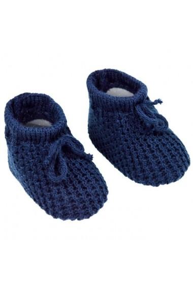 Botosei crosetati bleumarine cu model pentru bebelusi