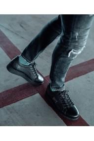 Pantofi Bigiottos Shoes piele naturala Silver Badge negri