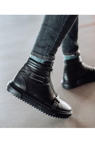 Ghete Bigiottos Shoes piele naturala The Italian negre