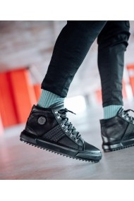 Ghete Bigiottos Shoes piele naturala Badass negri