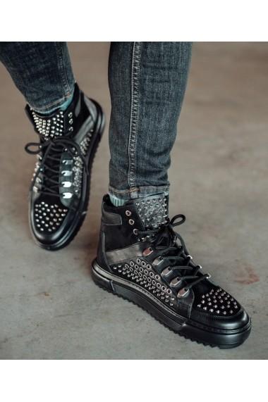 Ghete Bigiottos Shoes piele naturala Spike negre