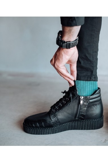 Ghete Bigiottos Shoes piele naturala Apache negre