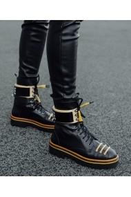 Ghete Bigiottos Shoes piele naturala Yellow Babe negre