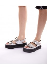 Sandale plate Bigiottos Shoes Glittery argintii