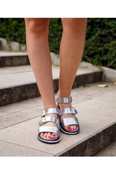 Sandale plate Bigiottos Shoes Sporty Sandals argintii