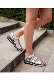 Sandale fara toc Bigiottos Shoes din piele naturala, Argintii