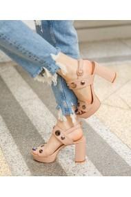 Sandale cu toc Bigiottos Shoes Cali nude