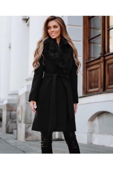 Palton ChicDiva cambrat din stofa cu guler blana ecologica Vivienne Negru