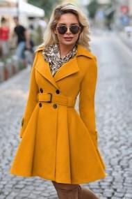 Palton Chic Diva Selma Ocru