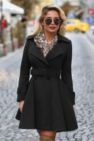 Palton Chic Diva Selma Negru