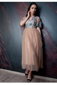 Rochie Moze din dantela cu fusta tull P24002448-6405 Bej