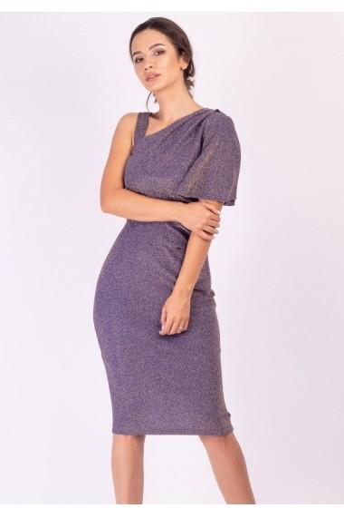 Rochie Moze elastica pe un umar P25172625-2004 Albastru