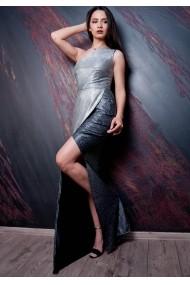 Rochie Moze lunga cu un singur umar P24028720-P64990 Argintiu