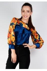 Bluza Moze din catifea cu print floral P21485310-P12400 Mustar