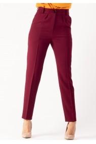 Pantaloni Moze uni cu pliuri in talie P27538492-P37052 Bordo