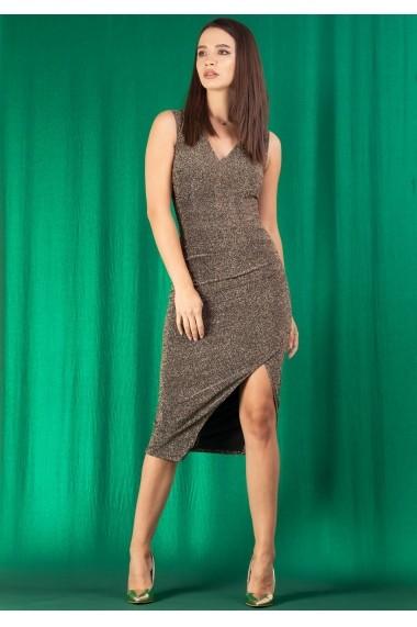 Rochie Moze cu pliuri din lurex P26599251-P27263 Aurie