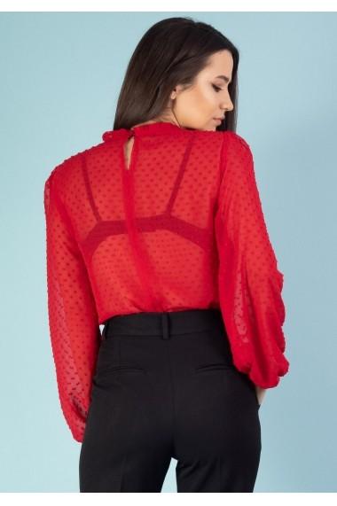 Bluza Moze din voal cu buline 3D P28028919-1016 Rosie