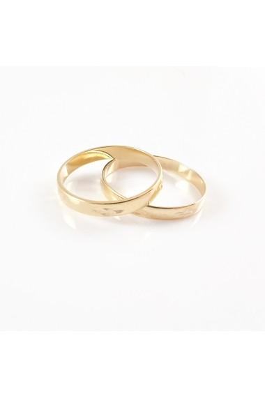 Inel tip verigheta cu model placat cu aur Together