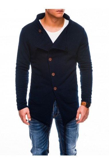 Hanorac Ombre stil palton inchiere laterala cu nasturi B310 Bleumarin