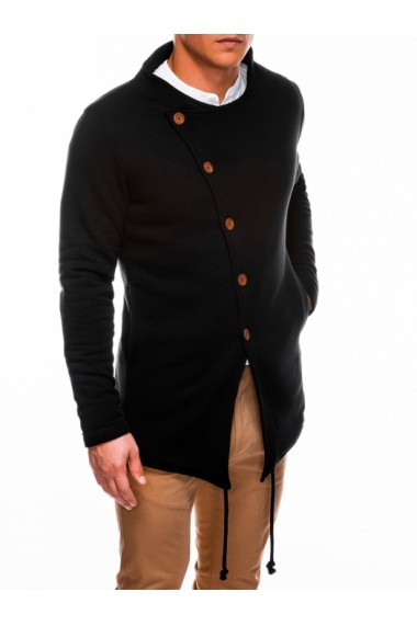 Hanorac Ombre stil palton inchiere laterala cu nasturi B310 Negru