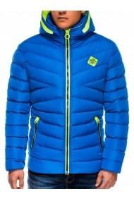 Geaca Ombre pentru ski cu gluga model slim C363 Albastra