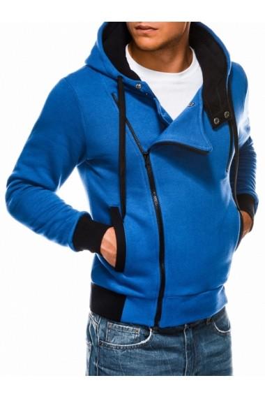 Hanorac Ombre fermoar lateral oblig cu gluga B297 Albastru