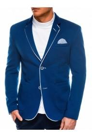 Sacou pentru barbati bleu casual slim fit cu buzunare aplicate elegant inchidere doi nasturi  M81