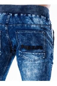 Blugi pentru barbati albastri slim fit conici siret alb casual skinny banda jos  P551