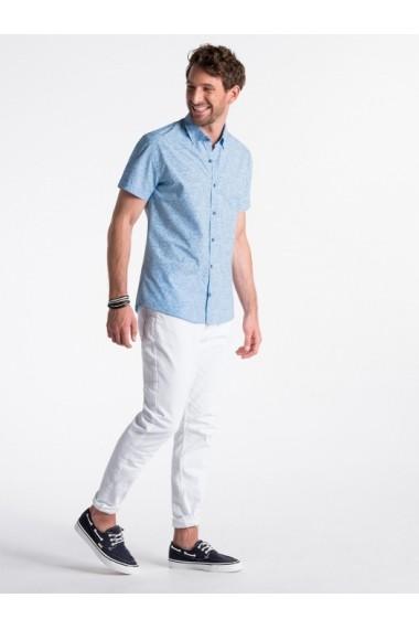 Camasa premium cu maneca scurta barbati  K474 albastru alb