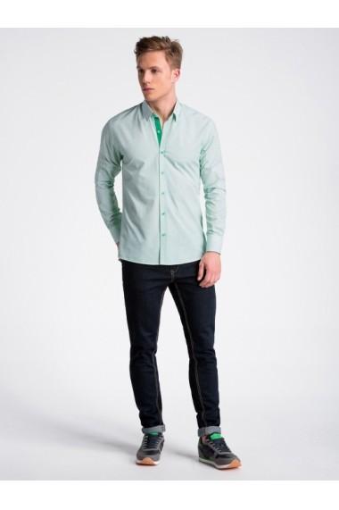 Camasa premium casual barbati  K478 alb verde