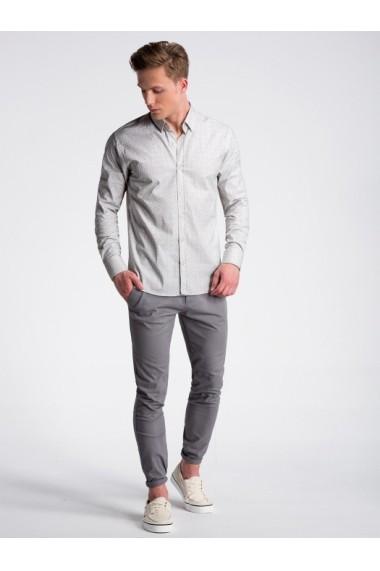 Camasa premium casual barbati  K495 alb galben