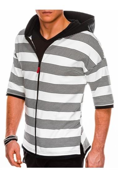 Bluza premium barbati B1054  alb negru