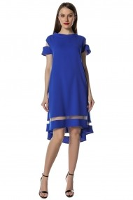 Rochie Brise Queen albastra – asimetrica cu aplicatie tull crep fluid soft-touch